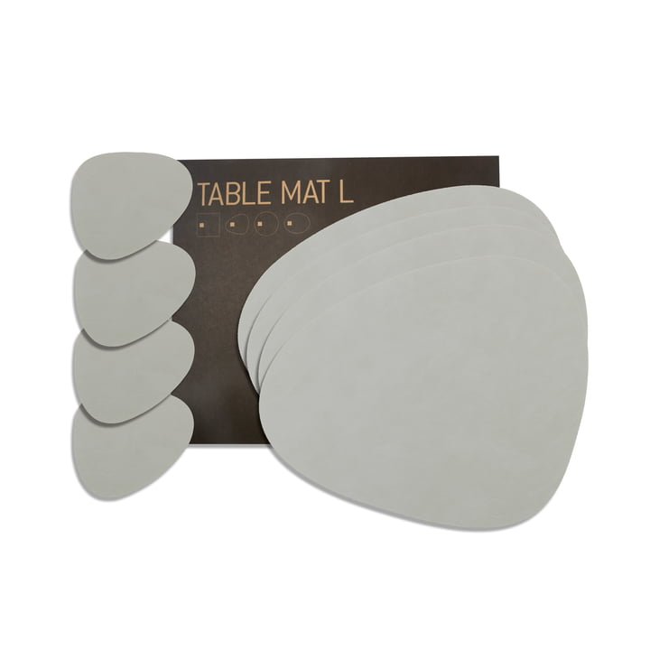 Gift set Curve L by LindDNA in Nupo metallic (4 placemats + 4 glass coasters)