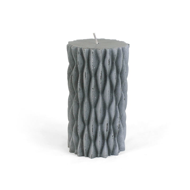 Connox Collection - rustic block candle with decor, H 12 cm / dark grey