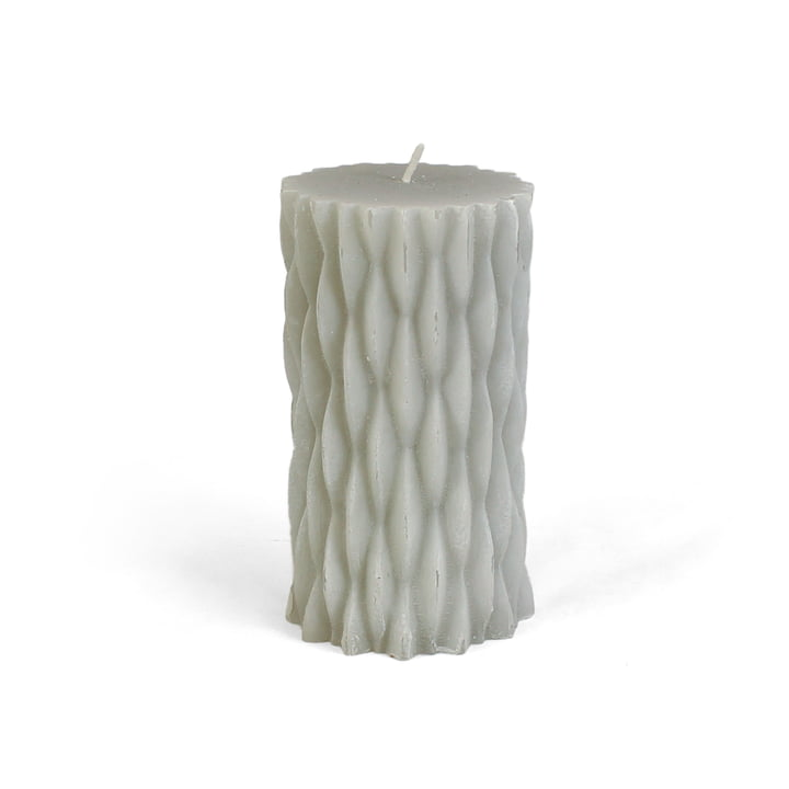 Connox Collection - rustic block candle with decor, H 12 cm / light grey
