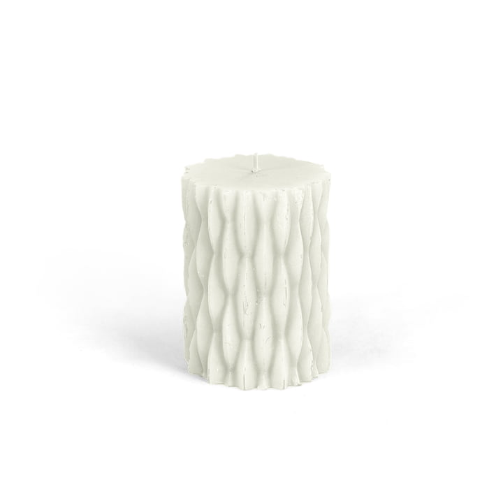 Connox Collection - rustic block candle with decor, H 9 cm / white