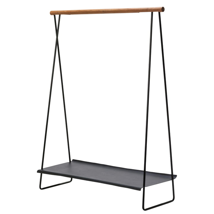 Clothes Rack Shelf coat rack by LindDNA in steel black / oak natural / hippo anthracite black