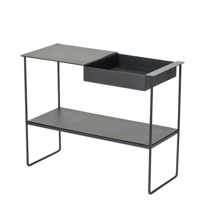 Console table with tray from LindDNA in aluminium black / Bull black