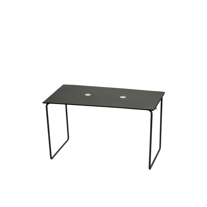 Jewel bench small L 72 cm from LindDNA in steel black / Bull black / wool anthracite / Jewel aluminium