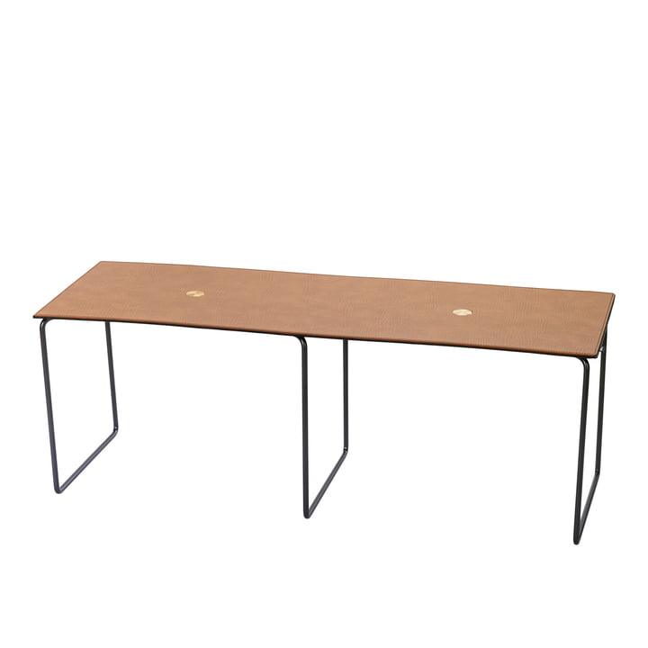 Jewel Bench large L 112 cm by LindDNA in steel black / Bull natural / wool anthracite / Jewel brass
