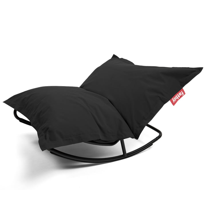 Rock 'n' Roll Lounge Chair with Original Beanbag by Fatboy in stonewashed black (Combi-Deal)