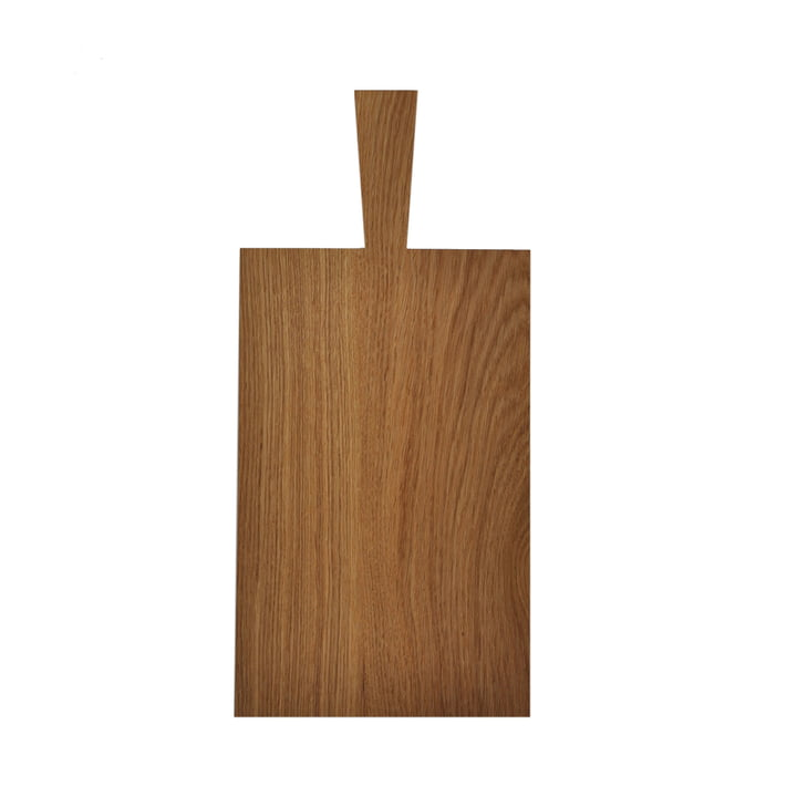 Cutting board with handle of room design in oak light oiled (33,5 x 21 x 1,8 cm + handle 11,5 cm)