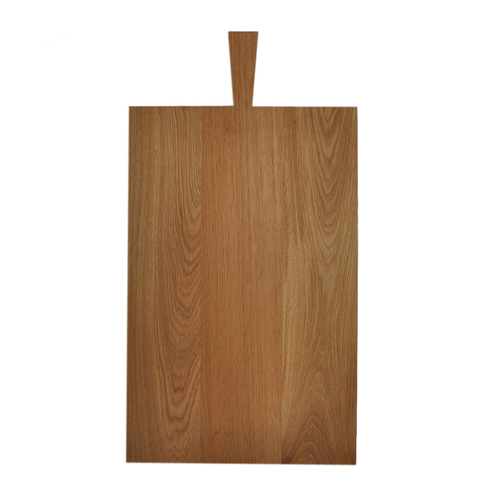 Cutting board with handle of room design in oak light oiled (53,5 x 34,3 x 2,2 cm + handle 13 cm)
