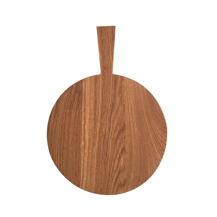Cutting board with handle of room design in oak light oiled (Ø 34 cm + handle 13 cm)