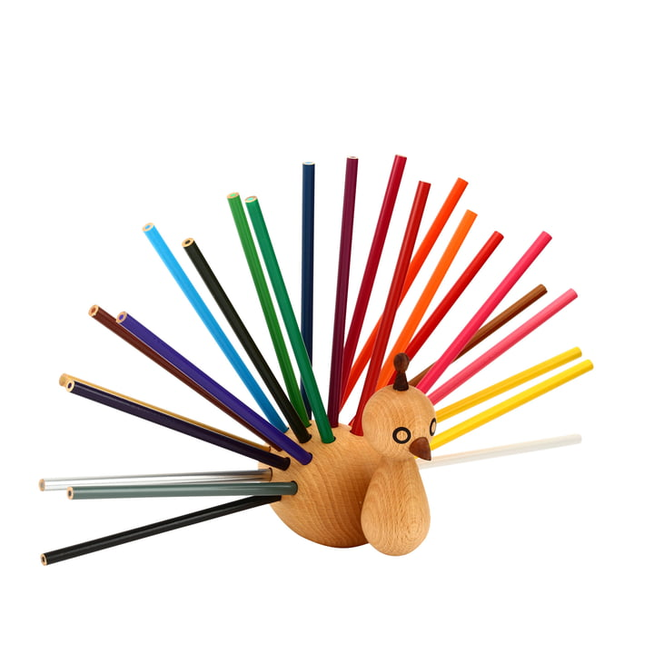 Peacock pen holder incl. coloured pencils by EO Denmark
