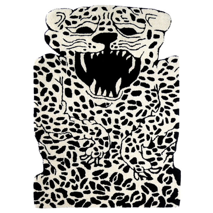 Leopard carpet 100 x 70 cm from EO Denmark in black / beige