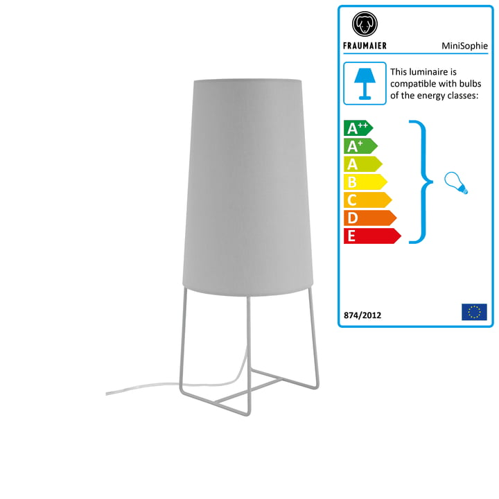 Mini Sophie table lamp with LED dimmer by frauMaier in light grey