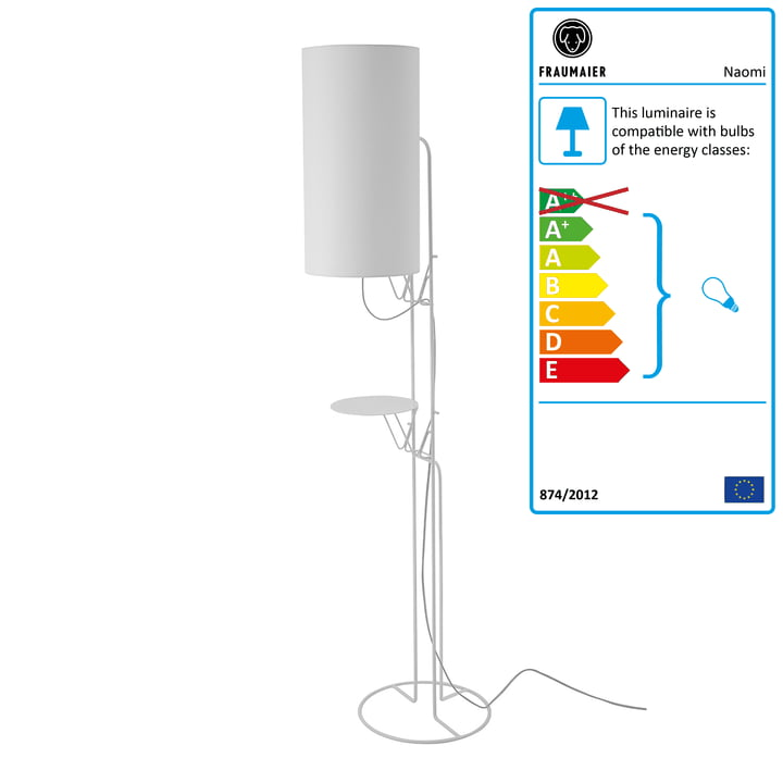 Naomi floor lamp LED dimmer from frauMaier in white (RAL 9016)