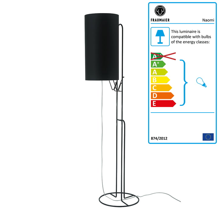 Naomi floor lamp LED dimmer by frauMaier in black (RAL 9005)