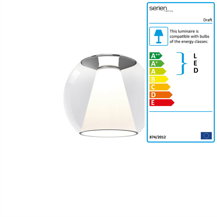 Draft ceiling lamp M, Ø 28 x H 34 cm, 2700 K / 2520 lm, clear by serien.lighting