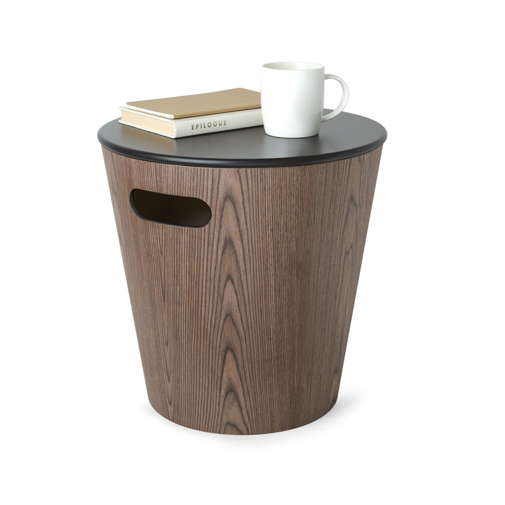 Woodrow stool/ side table with storage space from Umbra in walnut / black