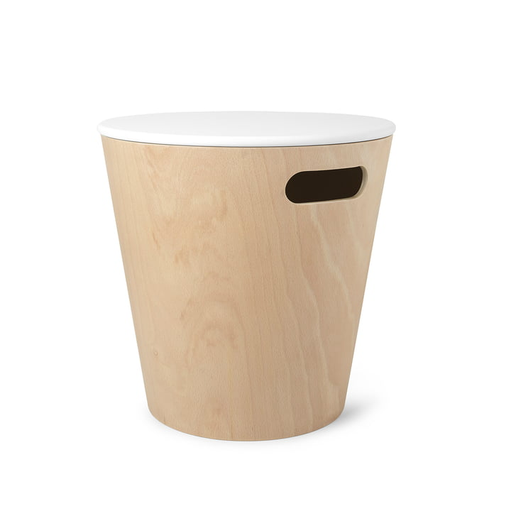 Woodrow stool/ side table with storage space from Umbra in nature / white