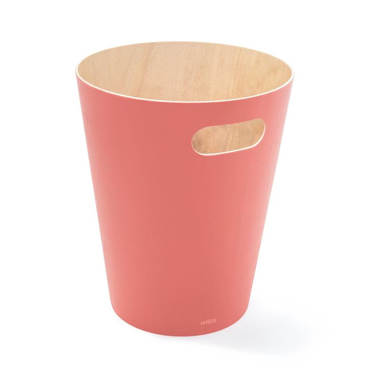 Woodrow wastepaper basket by Umbra in coral red