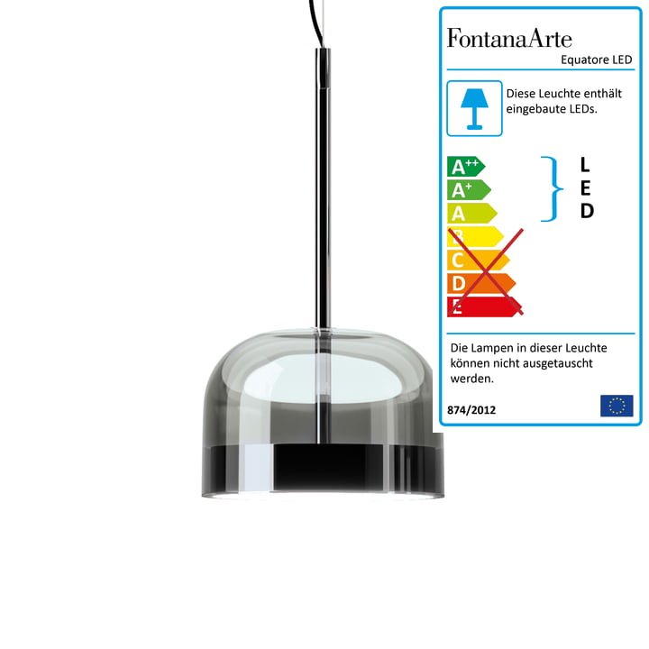 Equatore LED pendant lamp Ø 23,8 cm from FontanaArte in chrome / black