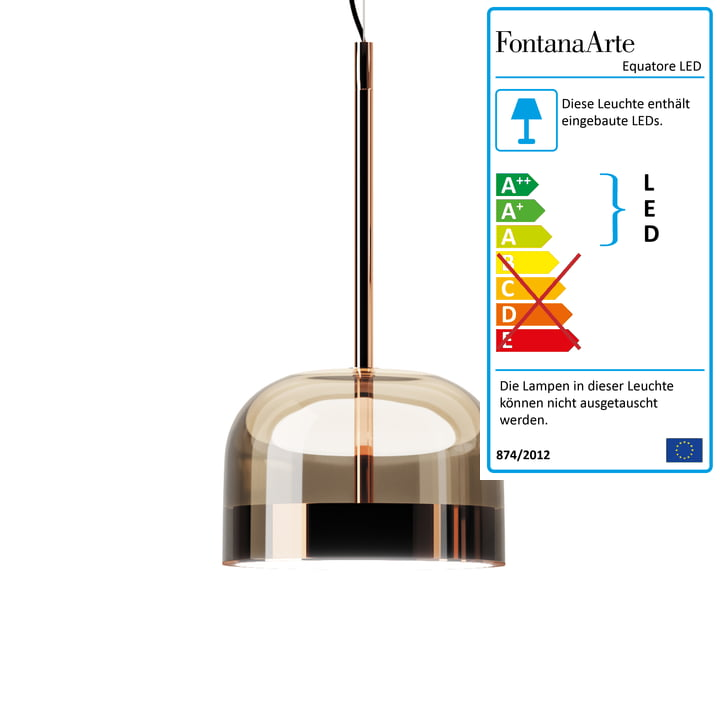 Equatore LED pendant lamp Ø 23,8 cm from FontanaArte in copper / pink
