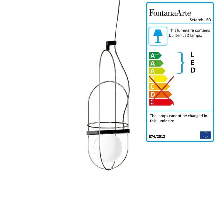 Setareh LED Pendant Lamp small by FontanaArte in Nickel black