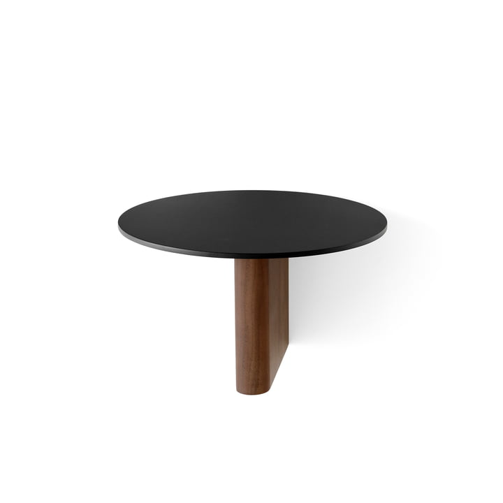 Column shelf JA1 Ø 25 cm from & tradition in aluminium black / walnut
