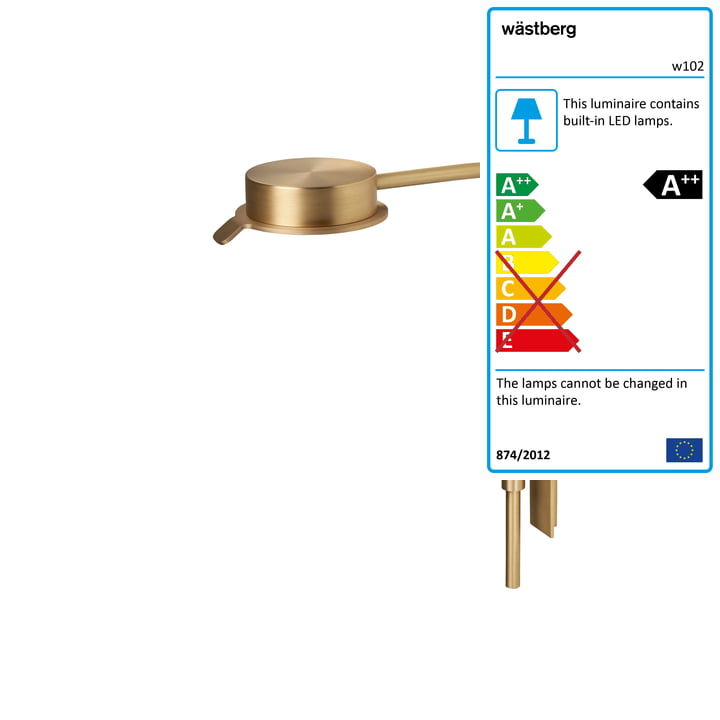 w102 Chipperfield LED wall lamp w from Wästberg in gold