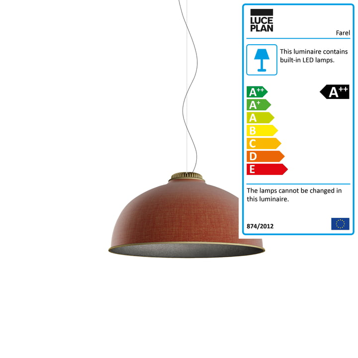 Farel pendant lamp by Luceplan in rust-red / dark grey / brass