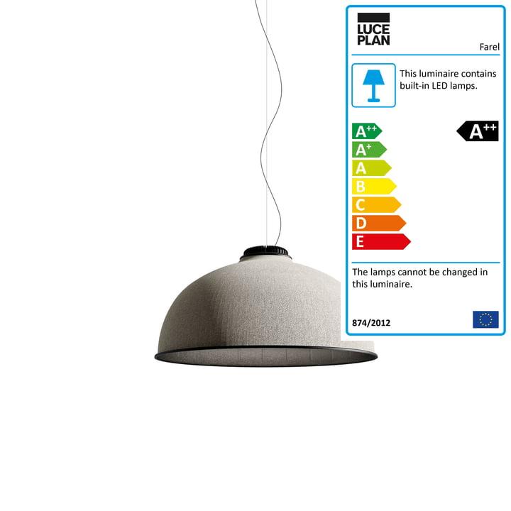 Farel pendant lamp by Luceplan in light grey / dark grey / black