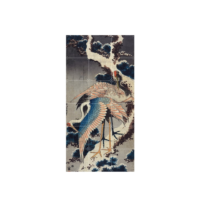 Cranes at the branch of a snow-covered jaw (Hokusai) 60 x 120 cm from IXXI