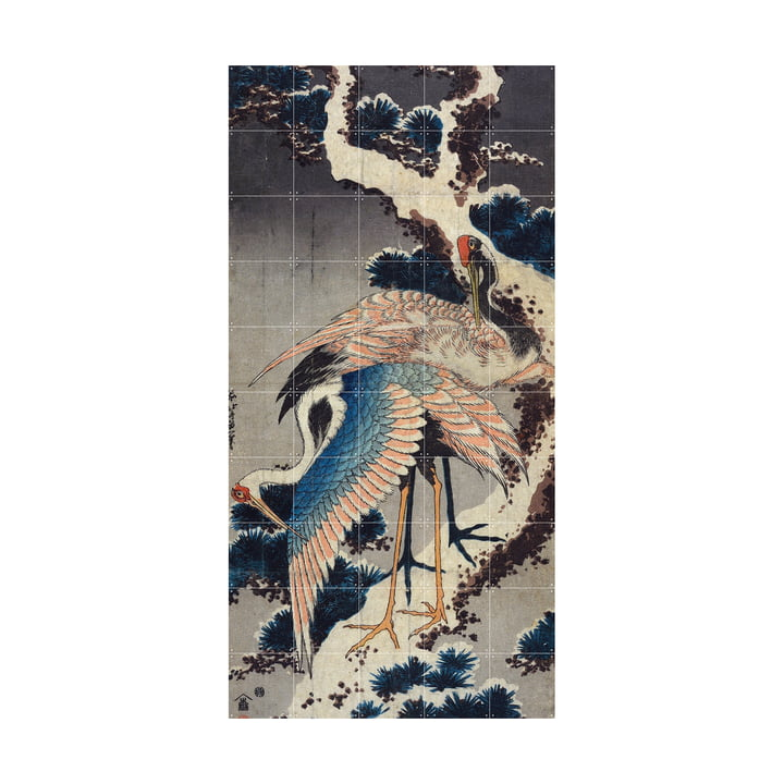 Cranes at the branch of a snow-covered jaw (Hokusai) 100 x 200 cm from IXXI