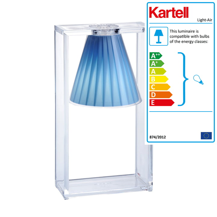 Light-Air table lamp, crystal clear / blue by Kartell