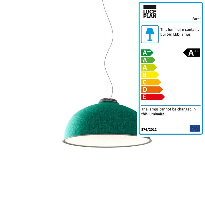 Farel pendant lamp by Luceplan in aquamarine / white / aluminium