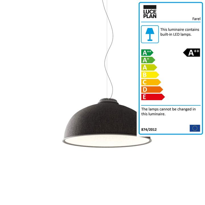 Farel pendant luminaire from Luceplan in dark grey / white / aluminium