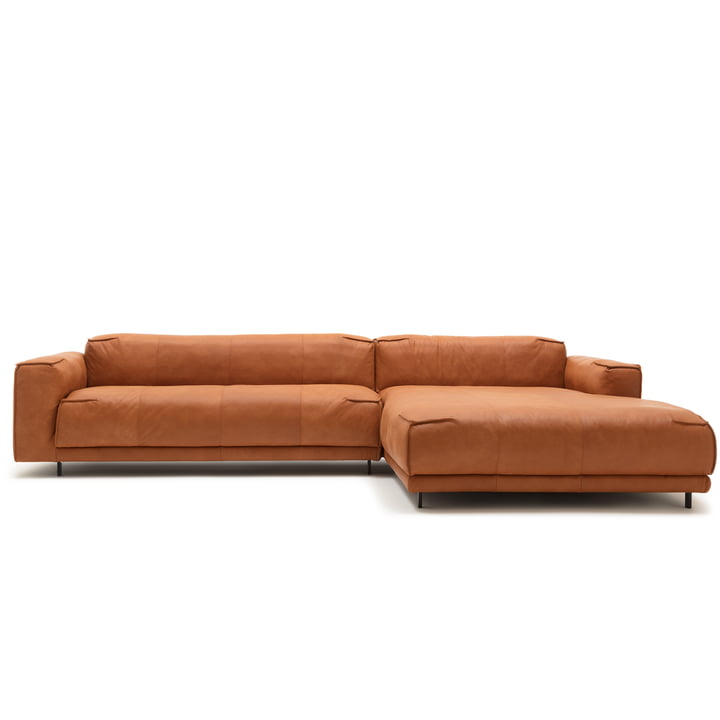 136 Sofa with récamiere right by freistil with cover leather ochre brown (9224) / steel single foot deep black (RAL 9005)