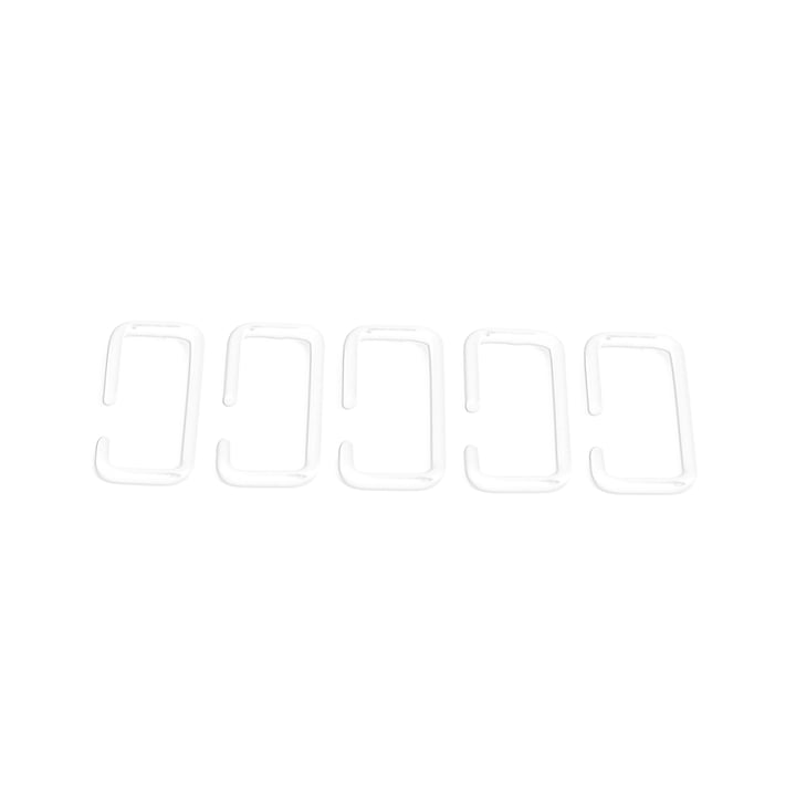 Hook set suitable for Feiner Strick & Fauler Strick wardrobe of city nomads in white (5 pieces)