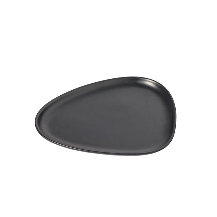Curve Stoneware Lunch plate 22 x 19 cm from LindDNA in black