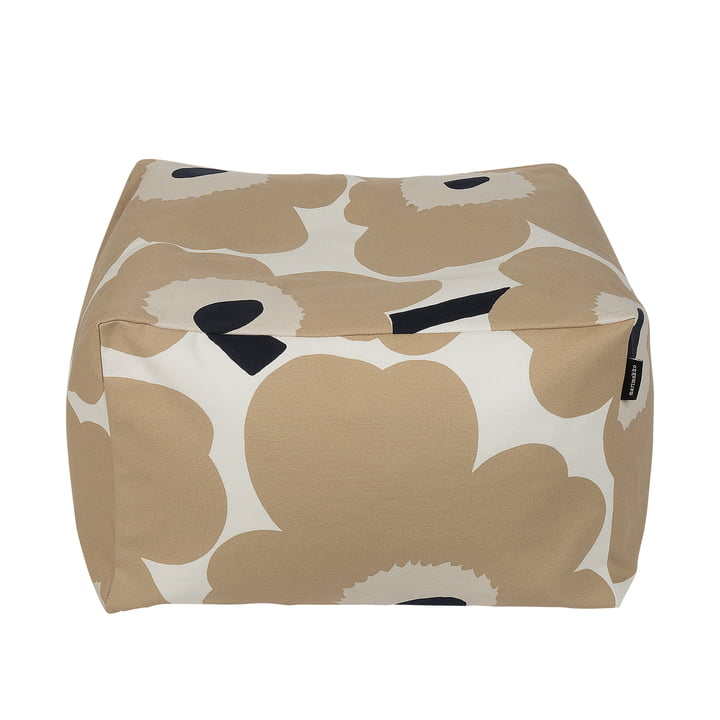 Unikko Puffi Seat cushion, off-white / beige / dark blue by Marimekko