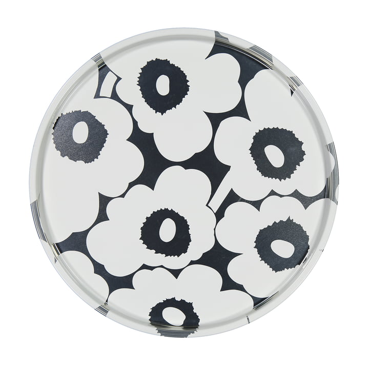 Unikko tray Ø 46 cm, grey / white by Marimekko