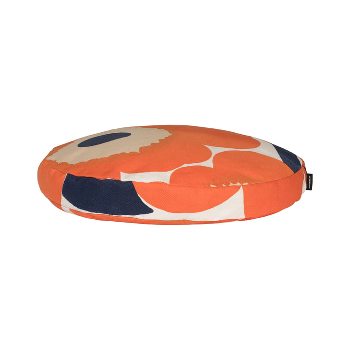 Unikko cushion Ø 42 cm, beige / orange / dark blue by Marimekko