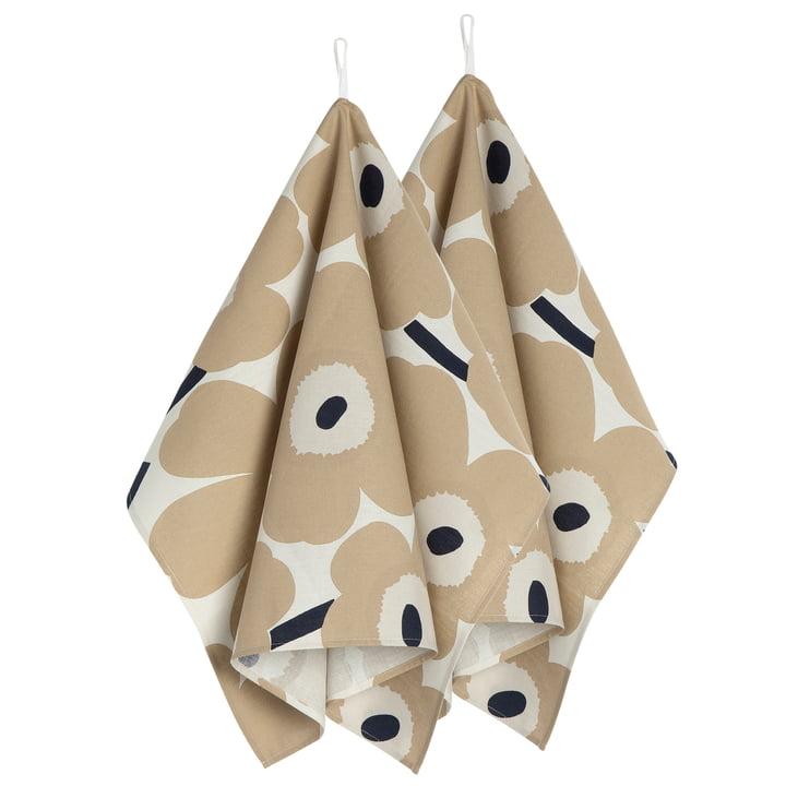 Pieni Unikko Tea towel set of 2, off-white / beige / dark blue from Marimekko
