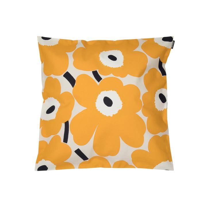 Pieni Unikko pillow case 45 x 45 cm, beige / yellow / dark blue by Marimekko