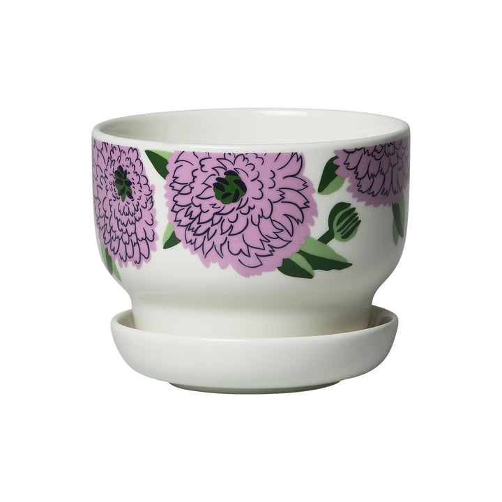 Primavera flowerpot, white / purple / green from Marimekko
