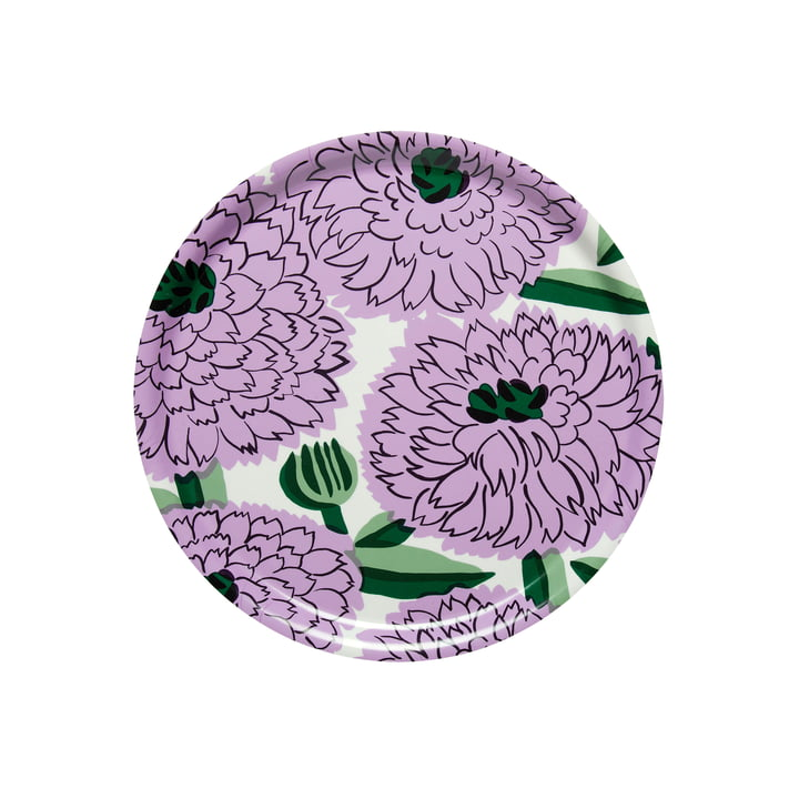 Primavera Tray Ø 31 cm, white / purple / green from Marimekko