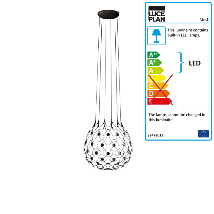 Mesh pendant luminaire from Luceplan Ø 80 cm / cable length 200 cm