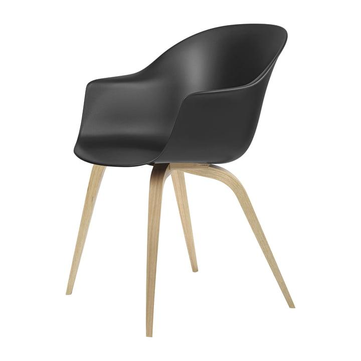 Bat Dining chair by Gubi in oak semi-matt lacquered / black