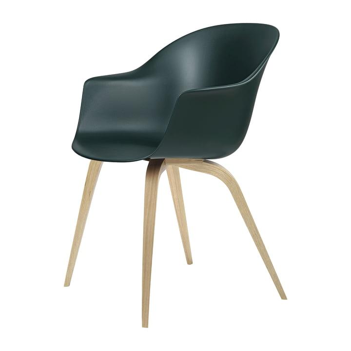 Bat Dining chair by Gubi in oak semi matt lacquered / green