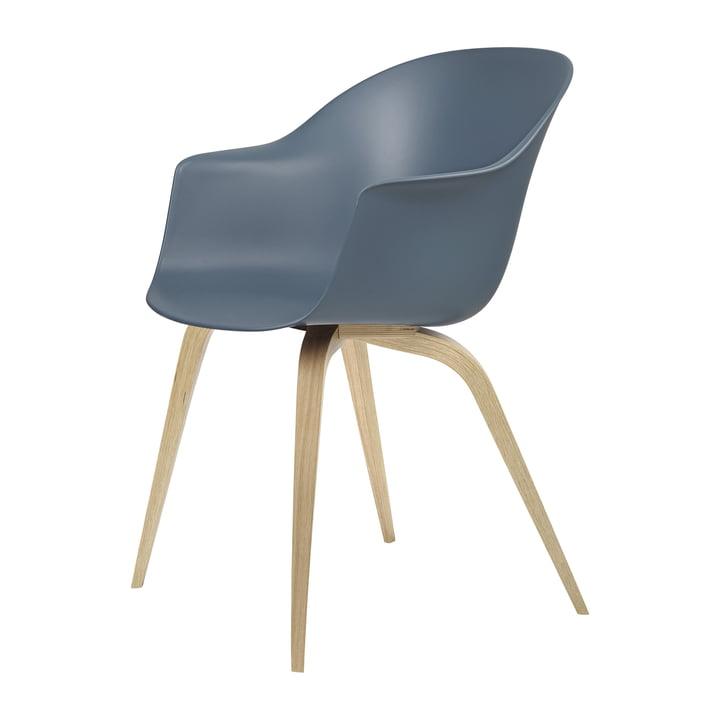 Bat Dining chair by Gubi in oak semi-matt lacquered / blue grey