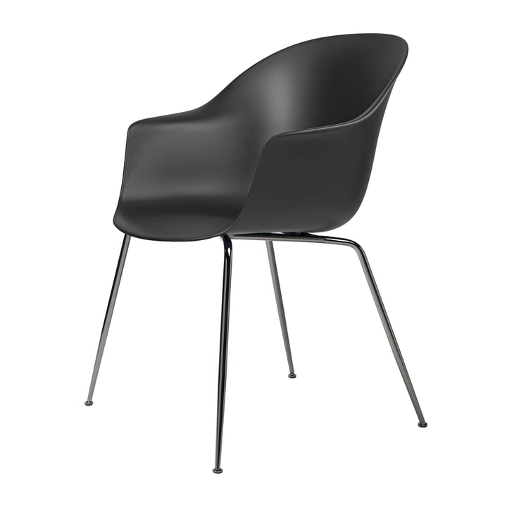 Bat Dining chair by Gubi in base black chrome plated / black