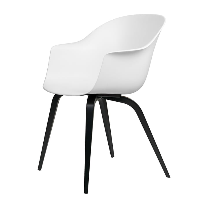 Bat Dining chair by Gubi in ash black lacquered / pure white