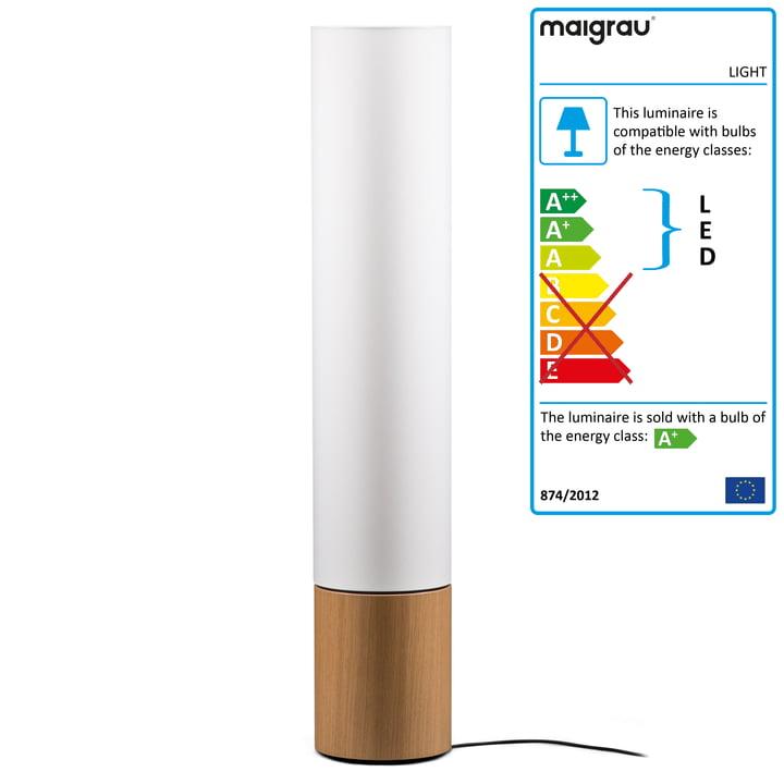 LIGHT 130 LED floor lamp, oak natural, white from Maigrau